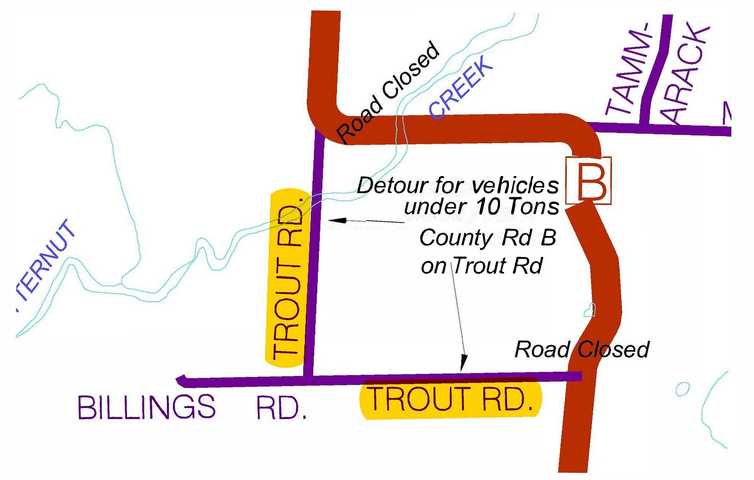 CTH B Detour Map under 10 ton